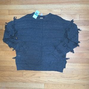 NWT Michael Kors gray sweater with fringe size L